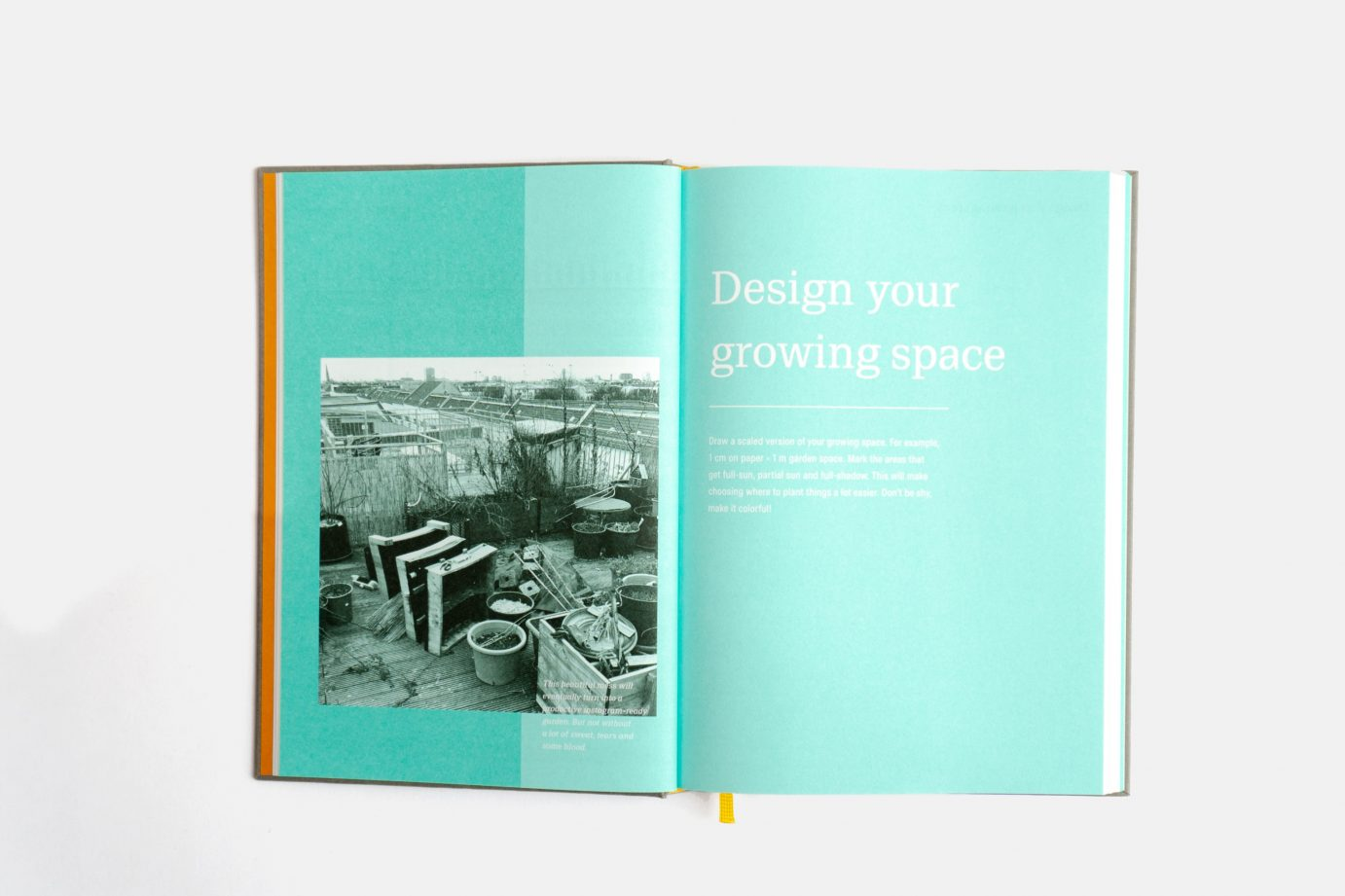 gardening journal open on the design section